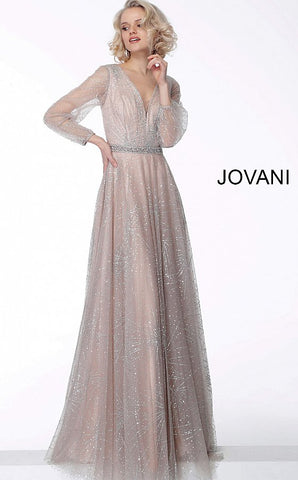 Jovani 65658 Nude long sleeve glitter evening gown