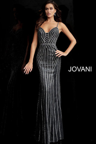 Jovani 65978 Gunmetal/Silver Sizes 00-24