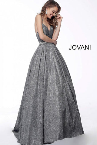 Jovani 66038 Gunmetal Glitter Prom Dress Ball Gown