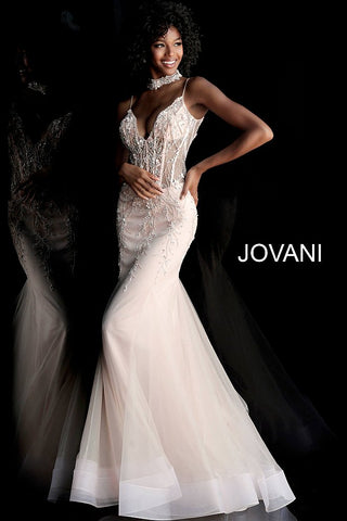 Jovani 66151 sheer corset and choker mermaid prom dress