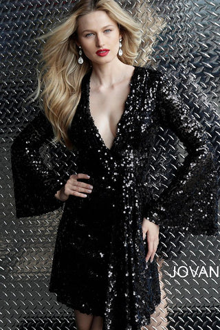Jovani Black Sequin Bell Sleeves Cocktail Dress 66256