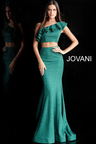 Jovani 66271 one shoulder ruffle two piece prom dress