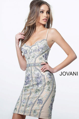Jovani 66318 Embellished Fitted V Neckline Homecoming Dress