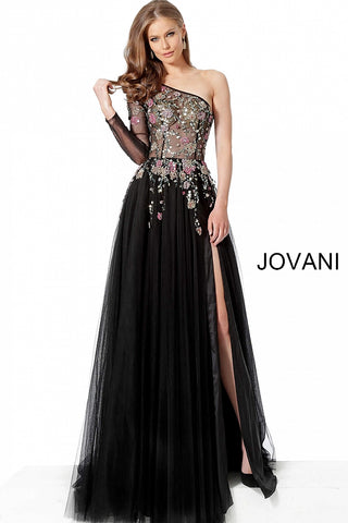 Jovani 66344 is a long Sheer Embellished Floral One Shoulder Long Sleeve Prom Dress & Formal Evening Gown Featuring a High waits tulle a line skirt with a maxi slit. Floral Crystal Embellishments cascading from the sheer bodice into the skirt.      Available Colors: Black/Multi  Available Sizes: 00-24