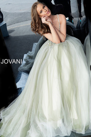 Jovani 66352 Olive/Off White Sizes 00-24