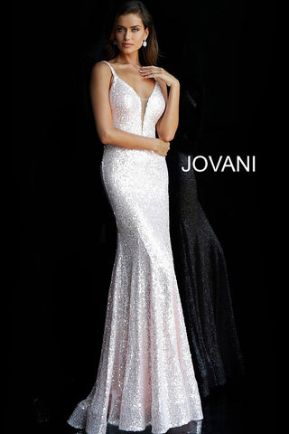 Jovani 66383 Long Fitted Sequin Plunging Neckline Prom Dress Fit Flare Evening Gown