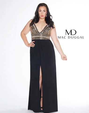 Fabulouss by Mac Duggal 66408 beaded bodice prom dress size 14 Black/Gold