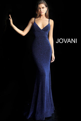 Jovani 66442 Gold, Navy, Red fitted v neckline prom dress