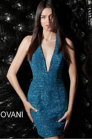 Jovani Peacock Backless Halter Neckline Short Dress 66539