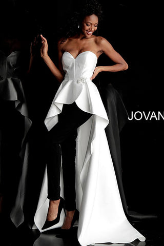 Jovani 66852 Ivory/Black pantsuit with high low overskirt