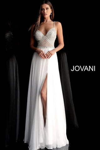 Jovani 66925  Available Colors: navy, off-white, red Available Sizes: 00 - 24 Details: Off white beaded chiffon prom dress with embellished sheer sleeveless bodice, spaghetti straps, v-neckline and open back, floor length pleated flowy skirt with high front slit. Glass Slipper Formals