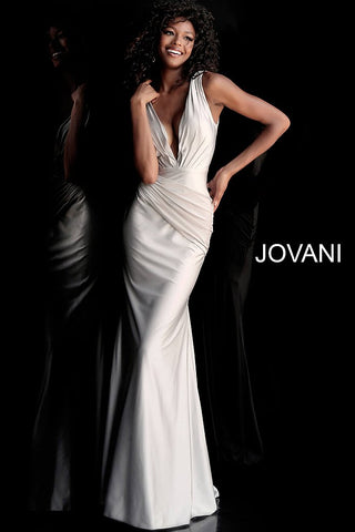 Jovani 66946 plunging neckline ruched bodice prom dress