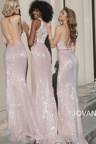 cff14d59 ... Jovani 68398 sequin two piece criss cross tie back prom dress ...