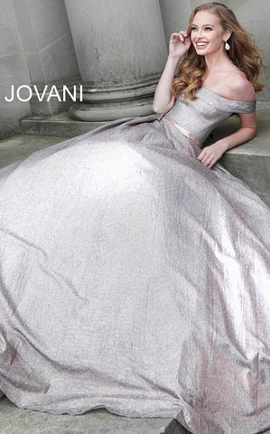 Jovani 66950  glitter prom dress ballgown with the off-the-shoulder sleeveless bodice, straight neckline, and beaded waist belt, floor-length pleated A-line skirt with side pockets. Makes a great evening ballgown.