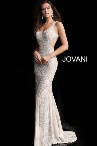 Jovani 66965 Long Crystal Embellished Prom Dress evening gown Wedding Dress