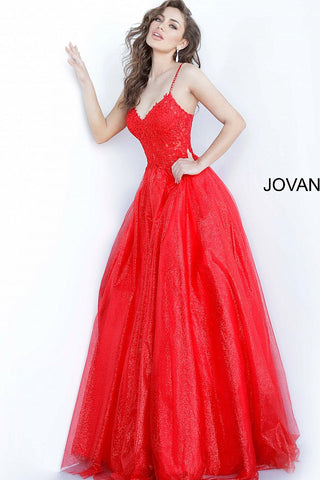Jovani 67051 Long Lace 2020 Prom Dress Ball Gown V Neck Shimmer Tulle  Illusion Sheer