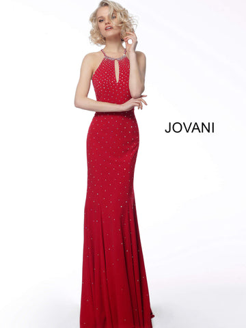 Jovani 67101 Sexy Long keyhole neckline embellished prom dress Fit Flare Open Back