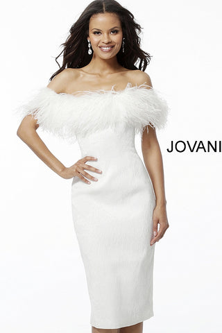 Jovani White Off the Shoulder Feather Neckline Knee Length Scuba Dress 67118