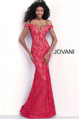 Jovani 67304 Long Fitted off the shoulder Long Lace Prom Dress Fit Flare Plunging Neckline