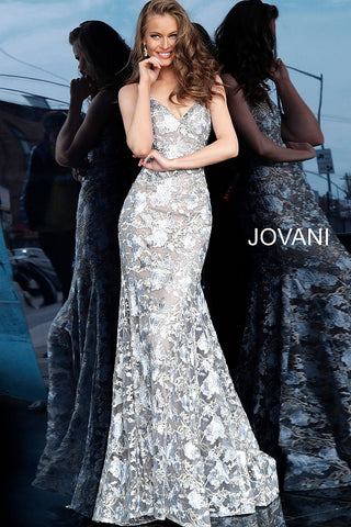 Jovani 67330 Silver/Nude sizes 00-24
