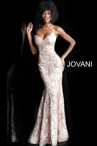 Jovani 67331 Champagne Sequin Embellished Mermaid Prom Dress Pageant Gown 2020