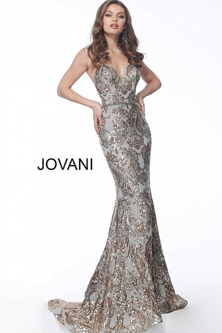 Jovani 67347 Gold/Silver plunging neckline embellished prom dress