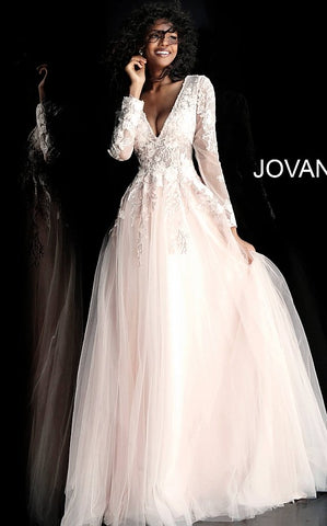 Jovani 67393 long sleeve tulle floral applique prom dress ball gown