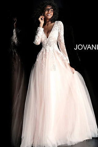 Jovani 67393 Blush long sleeve tulle floral applique prom dress ball gown