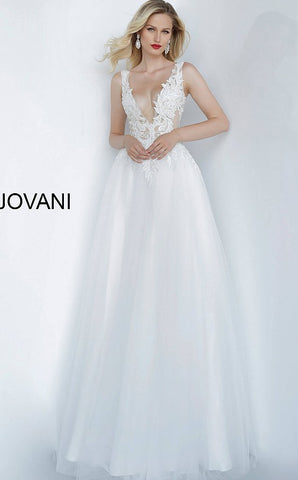 Jovani 67425 Off White plunging neckline embroidered evening wedding dress