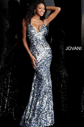 Jovani 67448 Blue sequin embellished fitted prom dress