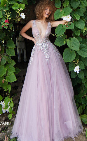 "Jovani 67459 Mauve Floral Embroidered V Neck Prom Dress Ballgown 67459 Full tulle floor length skirt, floral embroidered sleeveless sheer bodice, bra cups, V neckline, V back, straps over shoulders.    ​Fabric: 100% Polyester Fit: The Model is 5'9"" Wearing 3"" Heels. Neckline:  V Waistline: Natural Jovani 67459 Dry clean only Available Color: Mauve   Available Sizes 00-24"