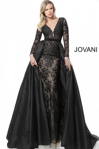 Jovani 67466 Black Plunging Neckline Long Sleeve Evening Gown  Black Sizes 00-24  Black Plunging Neckline Long Sheer Lace Sleeve Evening Gown with full overskirt