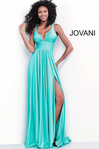 Jovani 67471 ruched bodice flowy jersey prom dress