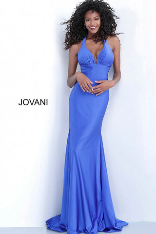 Jovani 67473 plunging neckline tie back fitted stretch prom dress