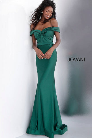 Jovani 67489 off the shoulder fitted prom dress