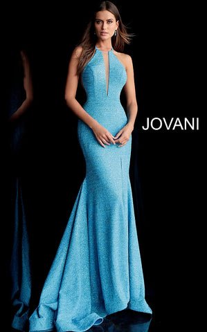Jovani 67563 Fitted Mermaid 2020 glitter jersey prom dress Long Sheer Plunging