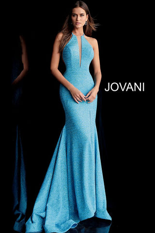 Jovani 67563 racer back stretch glitter jersey prom dress