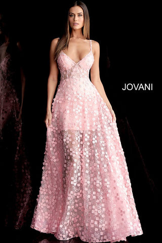 Jovani 67625 floral applique short prom dress with long sheer overlay