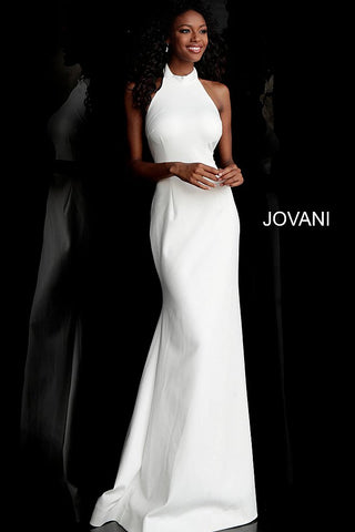 Jovani 67661 high neckline half back prom dress