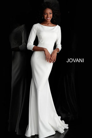 Jovani 67662 bateau neckline three quarter sleeves modest prom dress