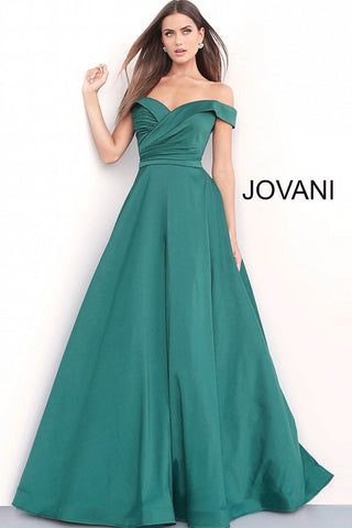 Jovani 67734 off the shoulder a line prom dress