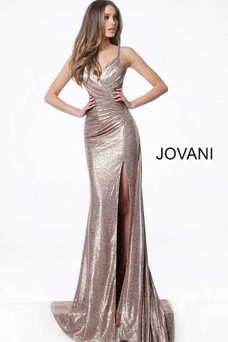 "Jovani 67798 v neckline spaghetti straps side slit metallic prom dress.   Metallic fabric, form fitting silhouette, floor length, sweeping train, high slit, pleated sleeveless bodice, V Neck, spaghetti straps over shoulders, low back with ruching.  Available colors:  Copper, Navy, Rose, Sand, Silver  Available sizes:  00-24    Fabric: 100% Polyester Fit: The Model is 5'9"" Wearing 3"" Heels.  Neckline:  V Neck Waistline: Natural Jovani 67798 Dry clean only"