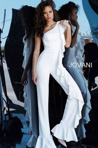 Jovani 67840 Off White One Shoulder Ruffle Evening Jumpsuit 67840  Black, Off White Sizes 00-24
