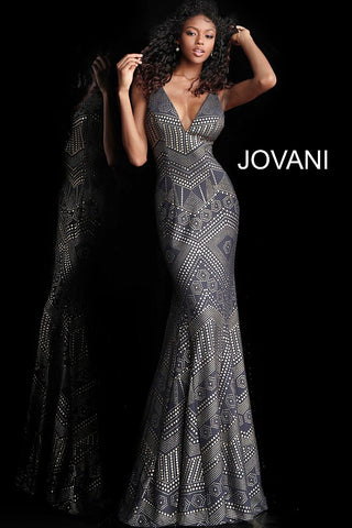 Jovani 67844 V-neck line, fitted prom dress