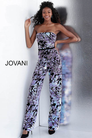 Jovani 67849 Multi sequin straight neckline jumpsuit