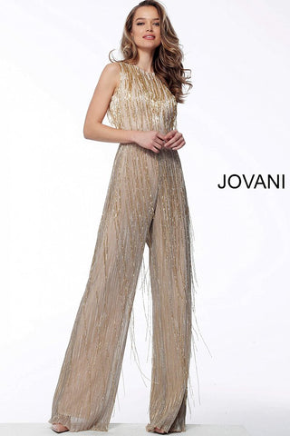 Jovani 67878 Gold/Nude fringe embellished prom jumpsuit sleeveless high neckline   Gold/Nude  Sizes:  00-24