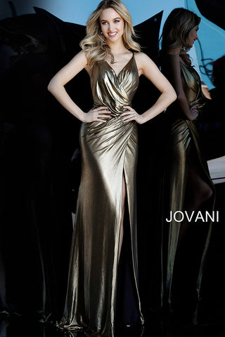 Jovani 67934 Gold Silver Metallic V neck Evening Party Dress Prom Long Slit Backless
