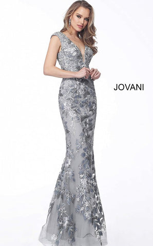 Jovani 68064 cap sleeve floral embroidery fitted evening gown
