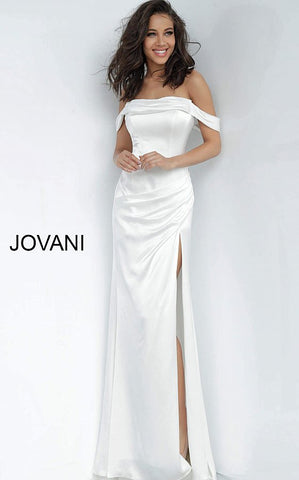 Jovani 68087 Fitted Off Shoulder Long Prom Dress High Slit Satin Train White