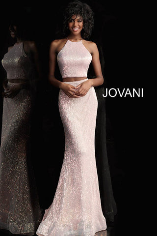 Jovani 68398 sequin two piece criss cross tie back prom dress